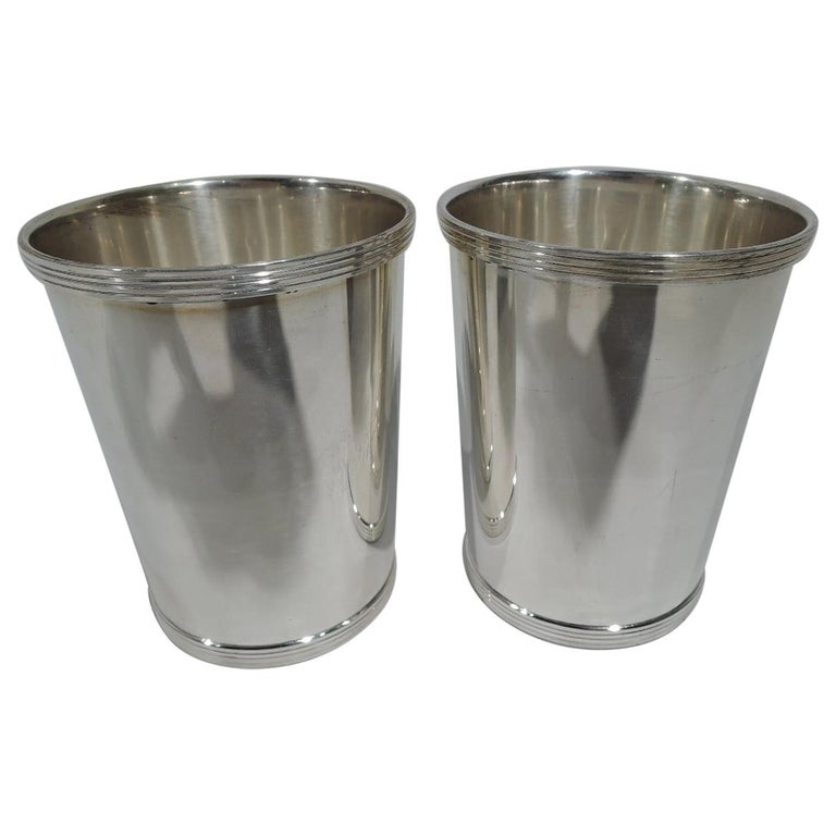 Pair of Traditional Sterling Silver Mint Julep Cups by Fisher For Sale