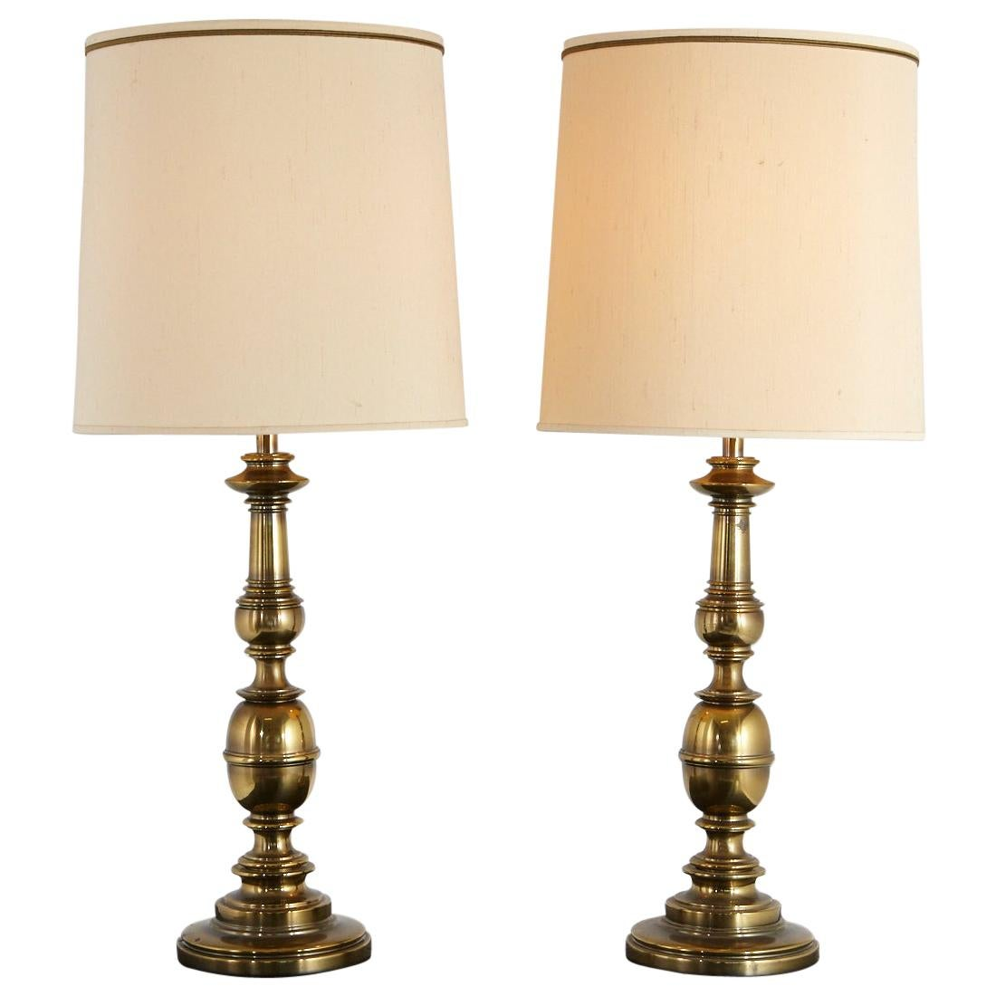 Pair of Traditional Stiffel Brass Table Lamps with Original Shades, 1950s-1960s