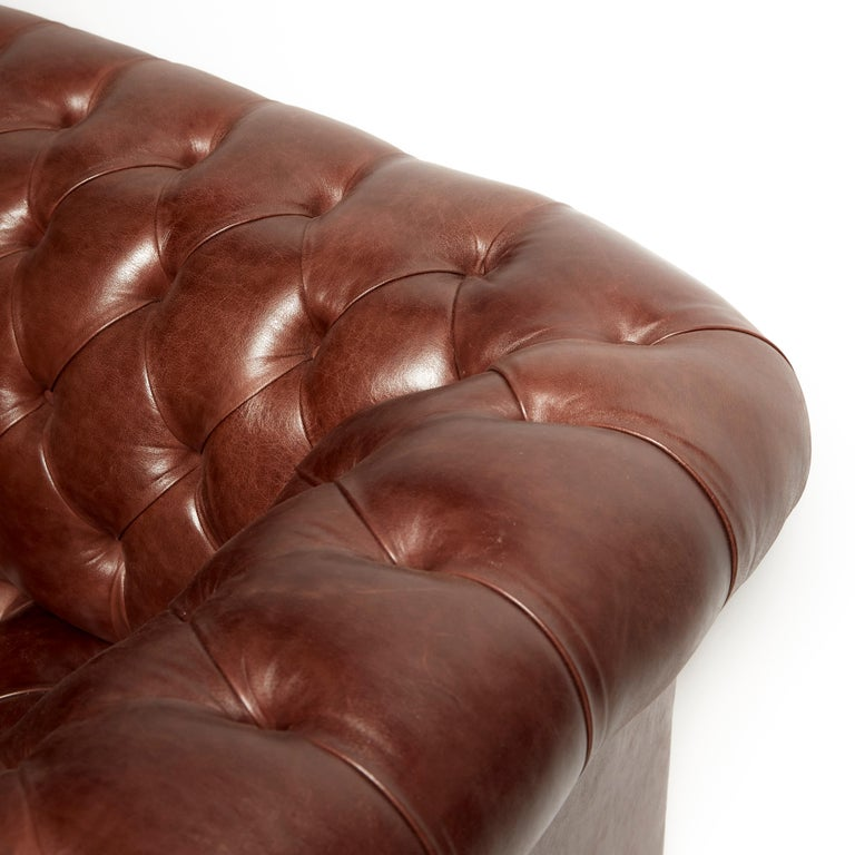 British Pair of Traditionally Designed Large Chesterfield Leather Sofas For Sale