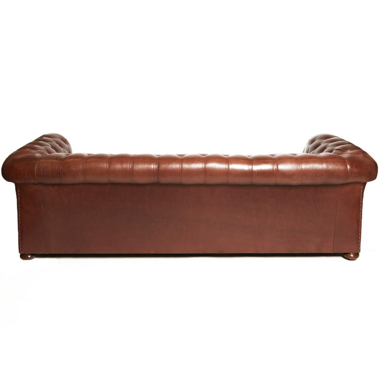 Pair of Traditionally Designed Large Chesterfield Leather Sofas For Sale 3