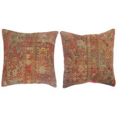 Pair of Traditonal Persian Pillows with Bright Pink Backing