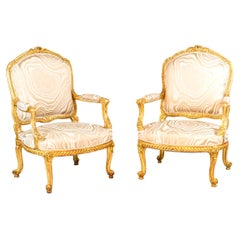 Pair of Transition Style Armchairs in Giltwood, circa 1880