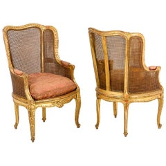 Pair of Transition Style Bergeres in Giltwood, 19th Century