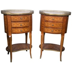 Pair of Transitional Oval Marble-Topped End Tables