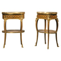 Pair of Transitional Style Gilt-Bronze Mounted Marquetry Tables À Écrire