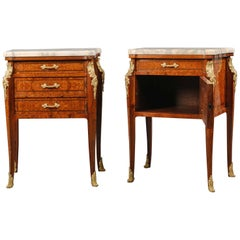 Pair of Transitional Style Petite Commodes or Bedside Cabinets
