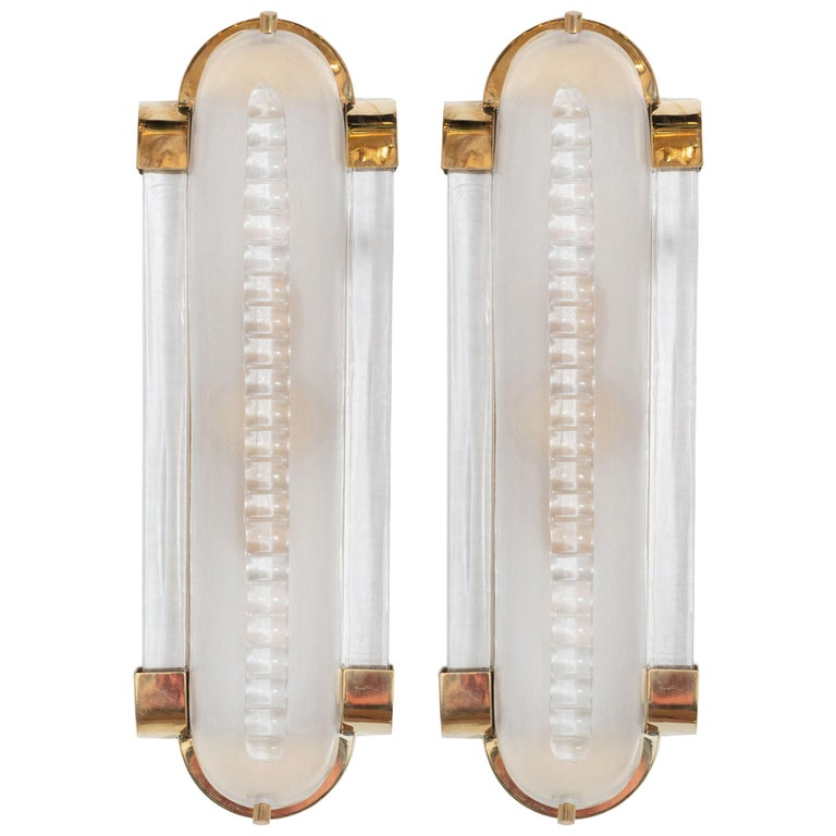Pair of Translucent White Murano Glass and Brass Sconces, Italy