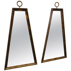 Pair of Trapezoidal Frame Mirrors in the Manner of Tommi Parzinger
