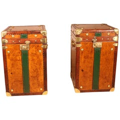 Pair of Travel Trunk of the English Navy End 19th Century Perfect Bedside Tables