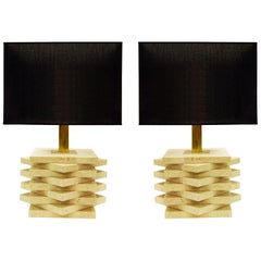 Pair of Travertine Table Lamps