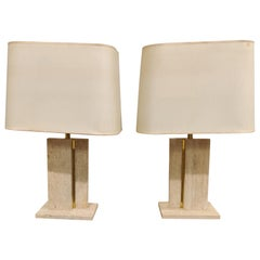 Pair of Travertine and Brass Table Lamps, 1970s