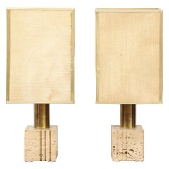 Pair of Travertine and Brass Table Lamps by Fratelli Mannelli, Italian, 1970s