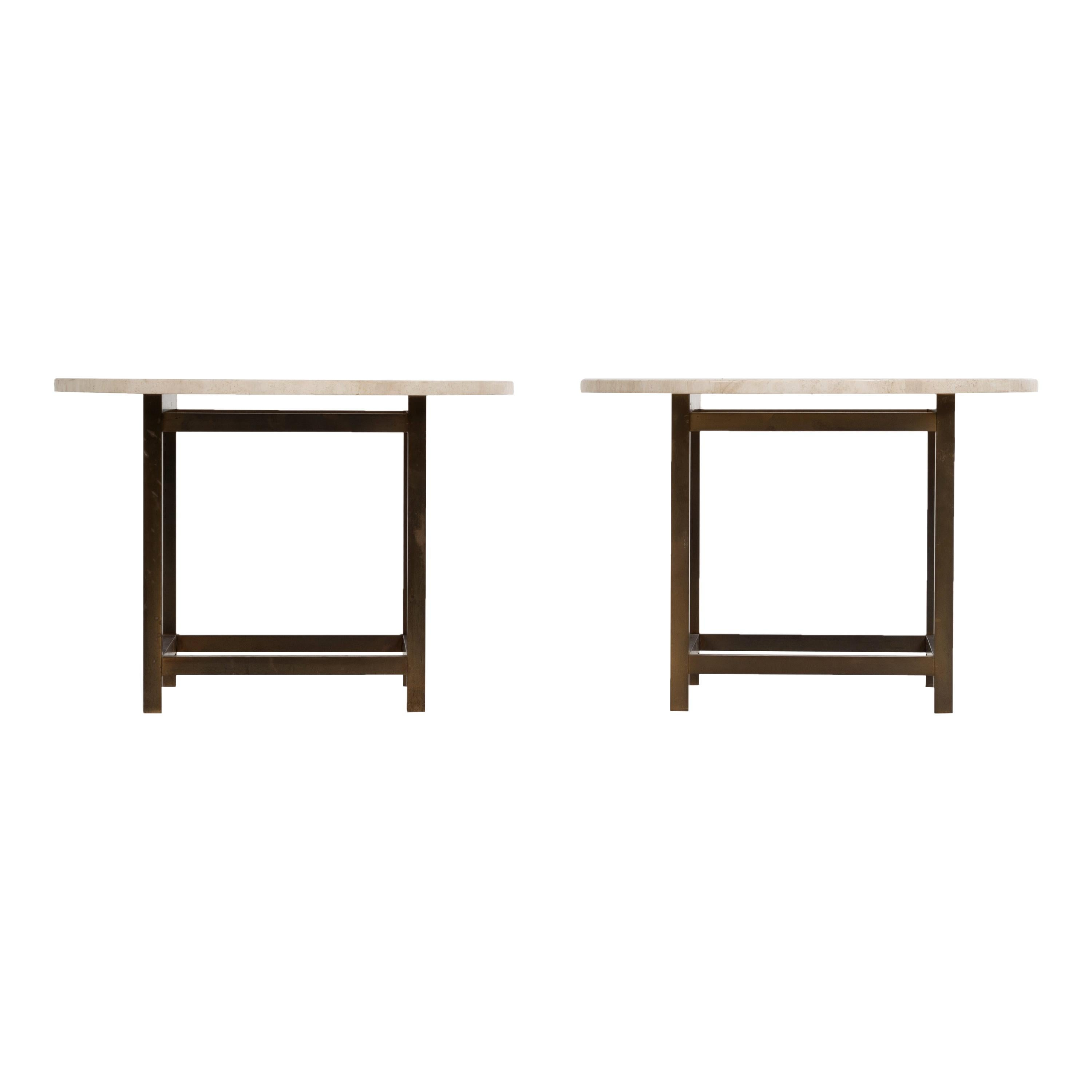 Pair of Travertine and Bronze Laverne Style End Tables