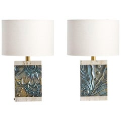 Pair of Travertine and Bronze Table Lamps