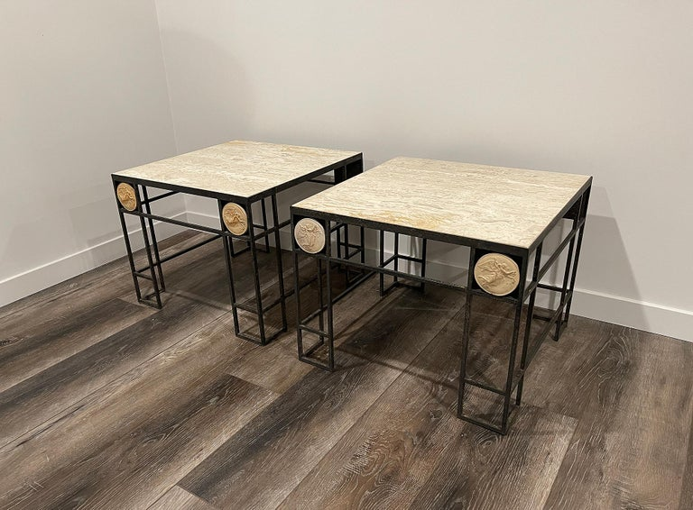 Pair of Travertine and Iron Coffee Tables, France, 1950 For Sale 5