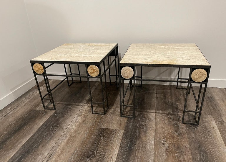 Pair of Travertine and Iron Coffee Tables, France, 1950 For Sale 6