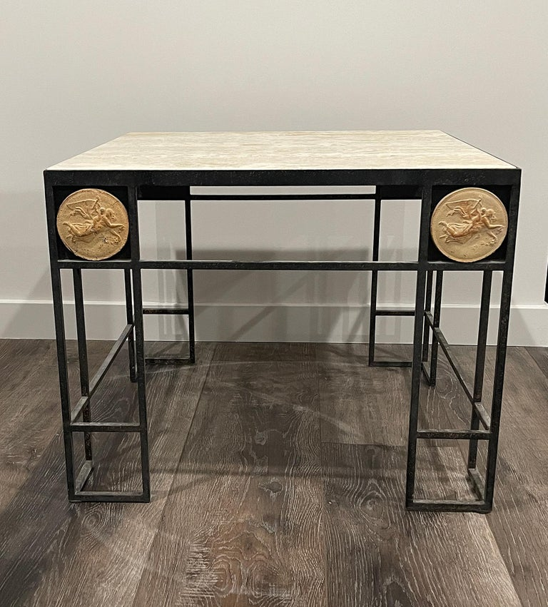Presumably unique - Pair of square wrought iron coffee tables with travertine tops. Originally these come from a set of six that were used in the lobby of a hotel in Paris. We have already sold four, this is our last pair. Each table comes with a