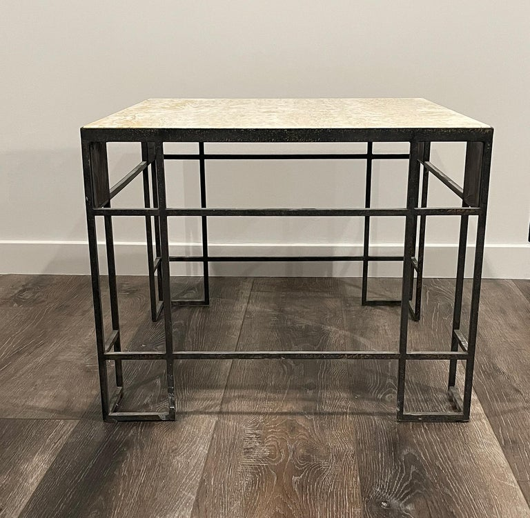 European Pair of Travertine and Iron Coffee Tables, France, 1950 For Sale