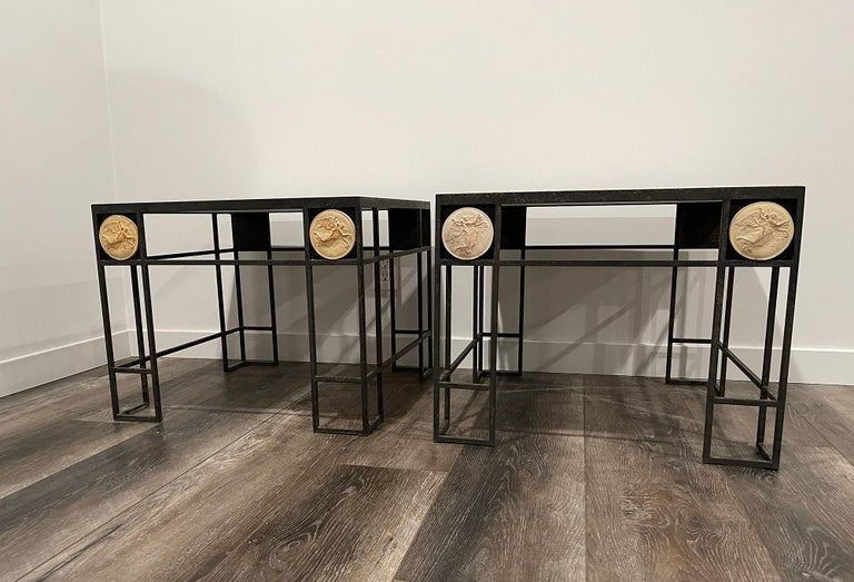 Pair of Travertine and Iron Coffee Tables, France, 1950 For Sale 2
