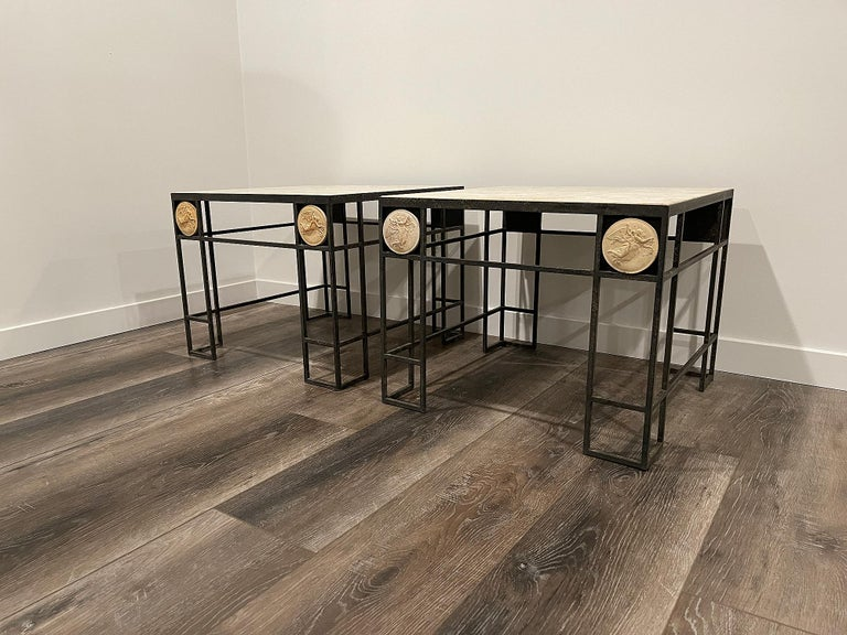 Pair of Travertine and Iron Coffee Tables, France, 1950 For Sale 3