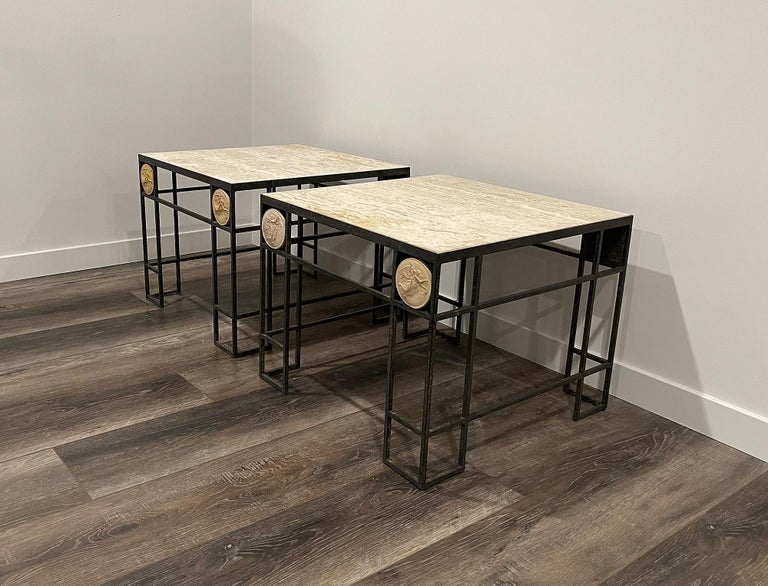 Pair of Travertine and Iron Coffee Tables, France, 1950 For Sale 4