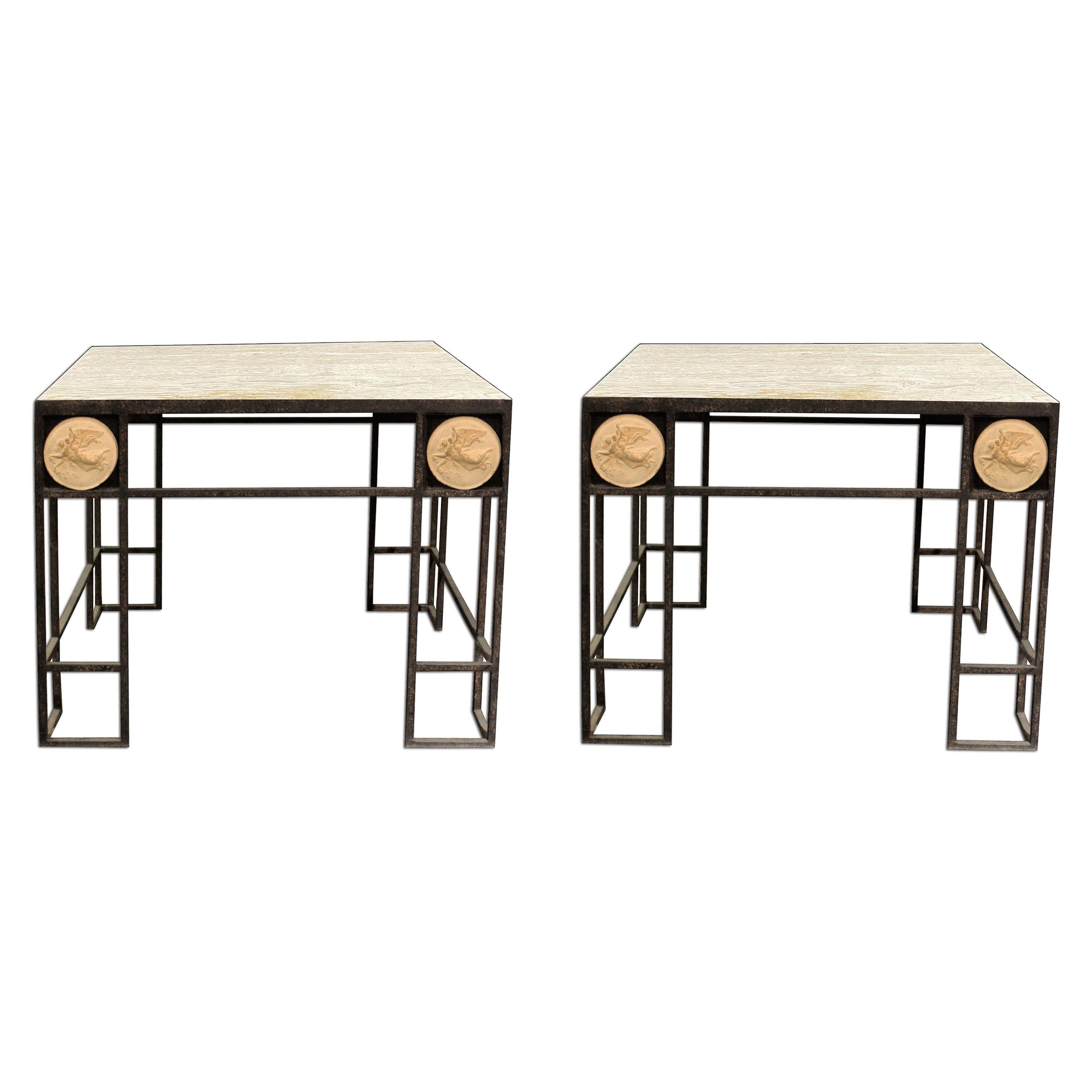 Pair of Travertine and Iron Coffee Tables, France, 1950