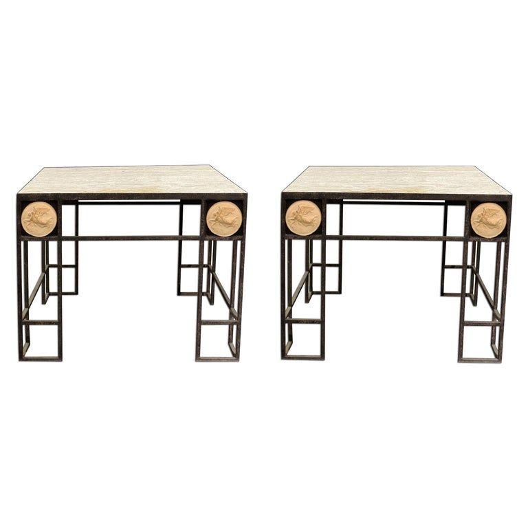 Pair of Travertine and Iron Coffee Tables, France, 1950 For Sale