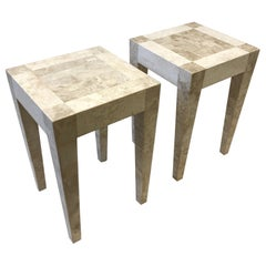 Pair of Travertine and Marble Side Table by Maitland Smith