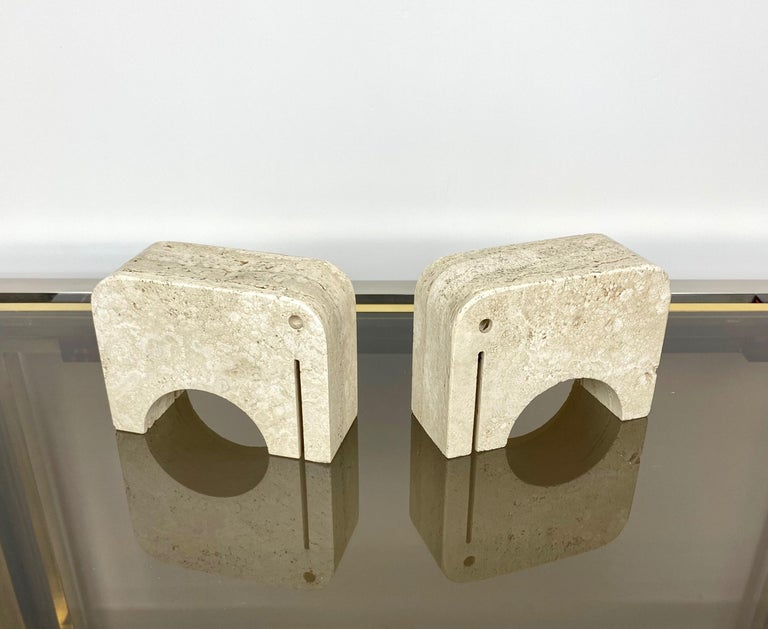 Pair of Travertine Bookends Elephant Sculpture by Fratelli Mannelli, Italy 1970s For Sale 4