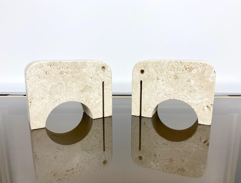 Pair of Travertine Bookends Elephant Sculpture by Fratelli Mannelli, Italy 1970s For Sale 5