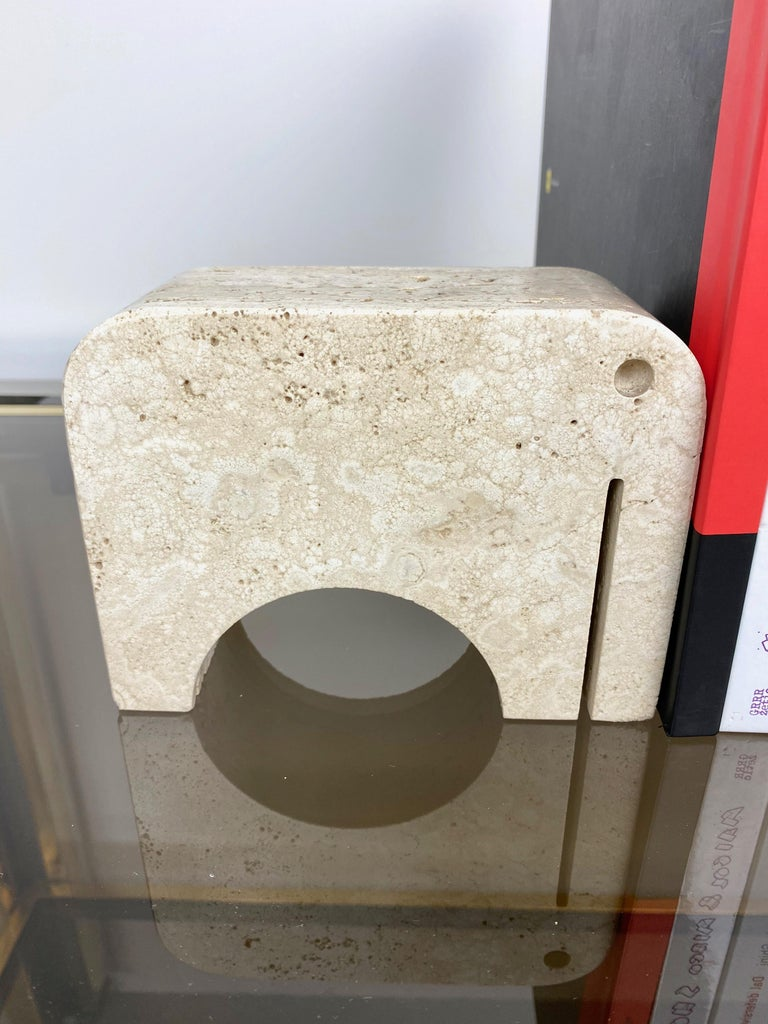 Pair of Travertine Bookends Elephant Sculpture by Fratelli Mannelli, Italy 1970s For Sale 7