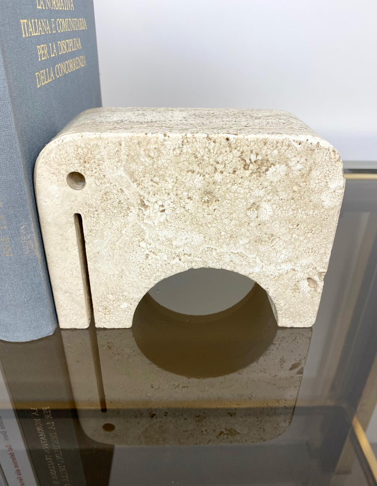 Pair of Travertine Bookends Elephant Sculpture by Fratelli Mannelli, Italy 1970s For Sale 8