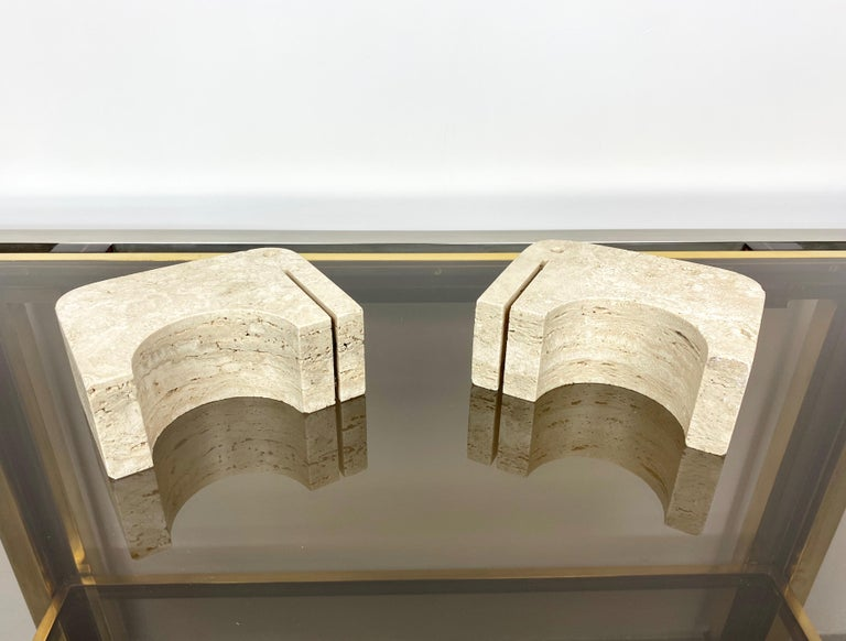 Pair of Travertine Bookends Elephant Sculpture by Fratelli Mannelli, Italy 1970s For Sale 9