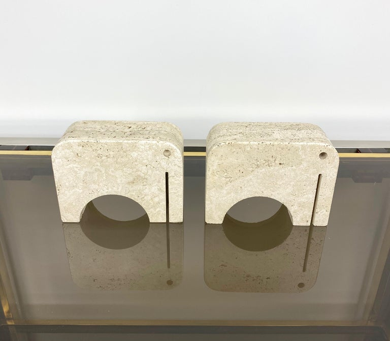Mid-Century Modern Pair of Travertine Bookends Elephant Sculpture by Fratelli Mannelli, Italy 1970s For Sale