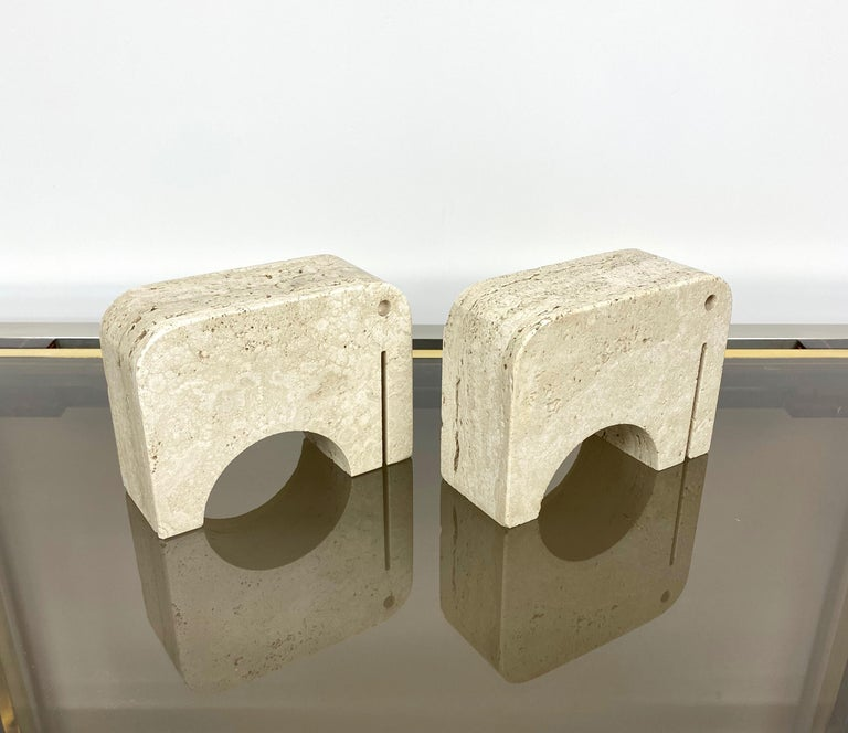 Italian Pair of Travertine Bookends Elephant Sculpture by Fratelli Mannelli, Italy 1970s For Sale