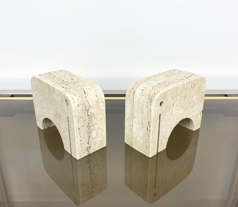 Pair of Travertine Bookends Elephant Sculpture by Fratelli Mannelli, Italy 1970s For Sale 2