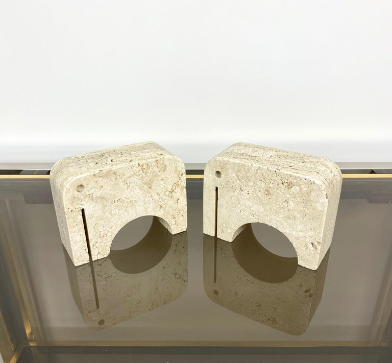Pair of Travertine Bookends Elephant Sculpture by Fratelli Mannelli, Italy 1970s For Sale 3