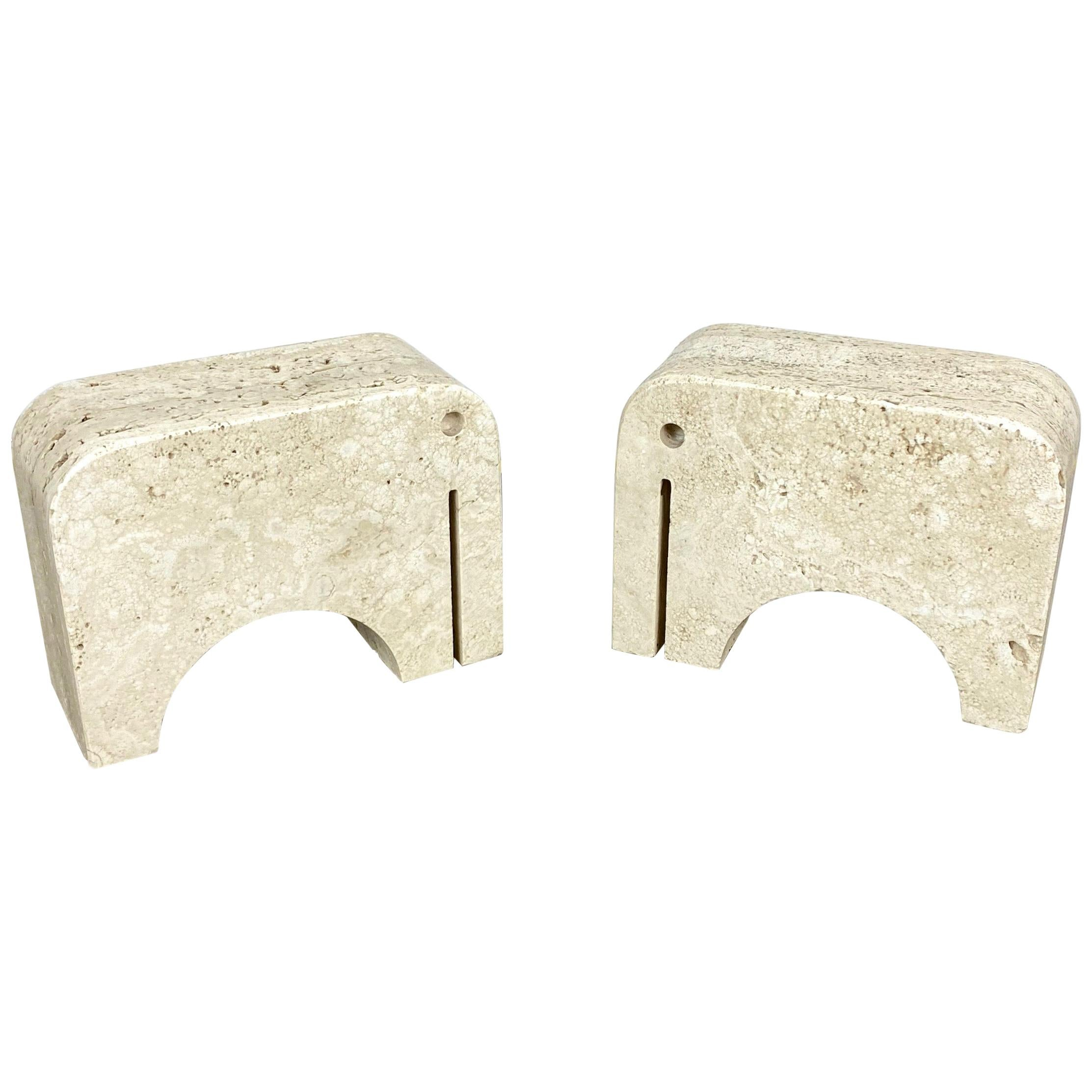 Pair of Travertine Bookends Elephant Sculpture by Fratelli Mannelli, Italy 1970s