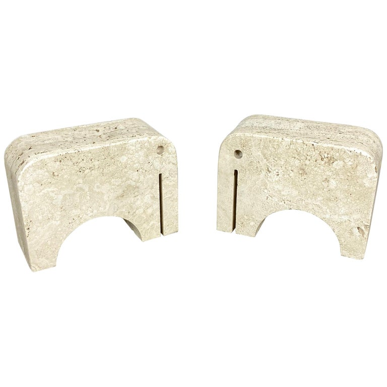 Pair of Travertine Bookends Elephant Sculpture by Fratelli Mannelli, Italy 1970s For Sale