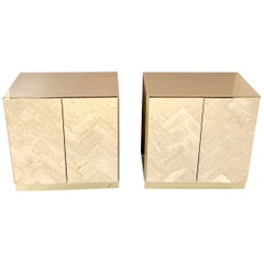 Pair of Travertine Front Nightstands