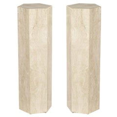 Pair of Travertine Hexagonal Pedestals