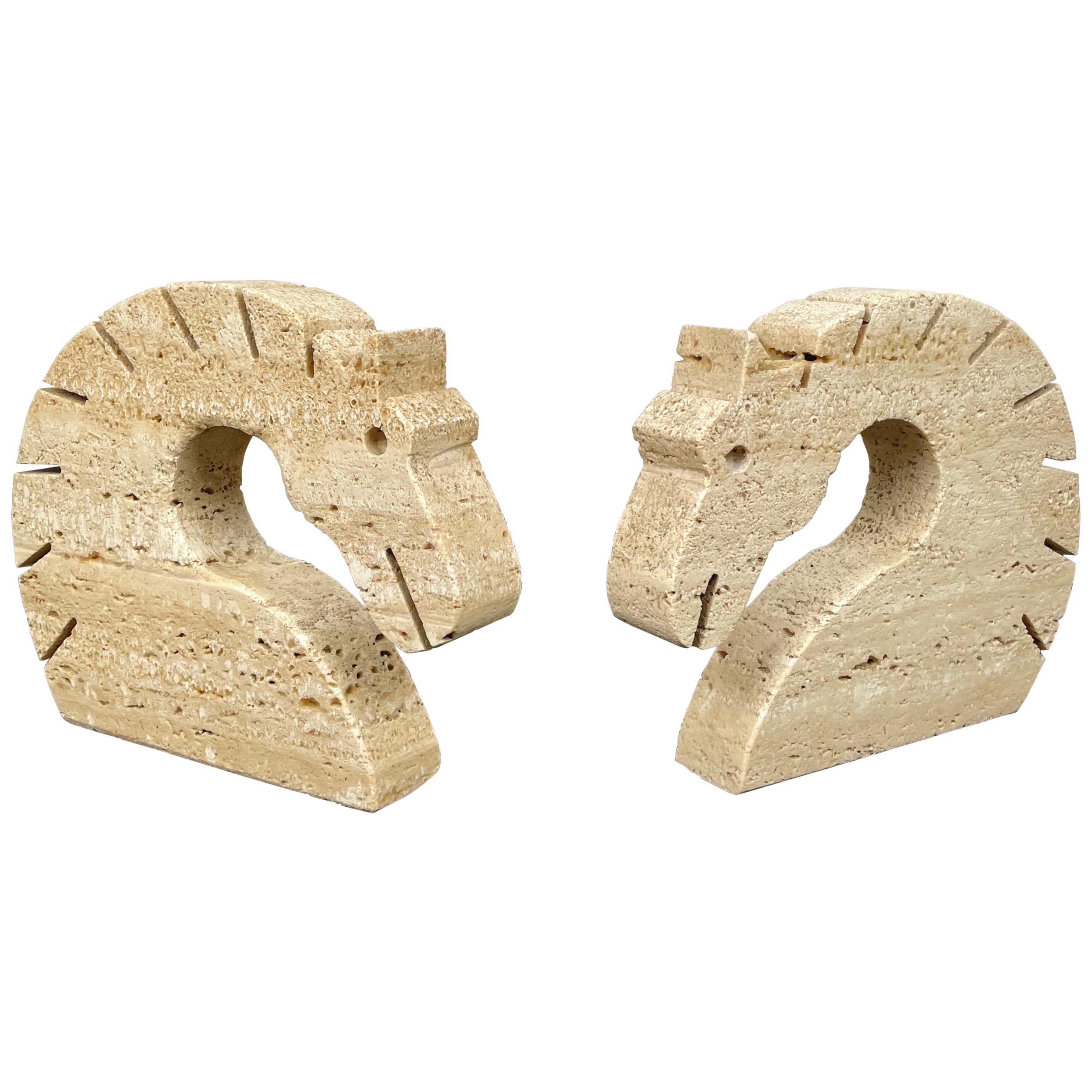 Pair of Travertine Horse Bookends Letter Holder by Fratelli Mannelli Italy 1970s