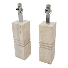Pair of Travertine Lamps by Reggiani for Raymor