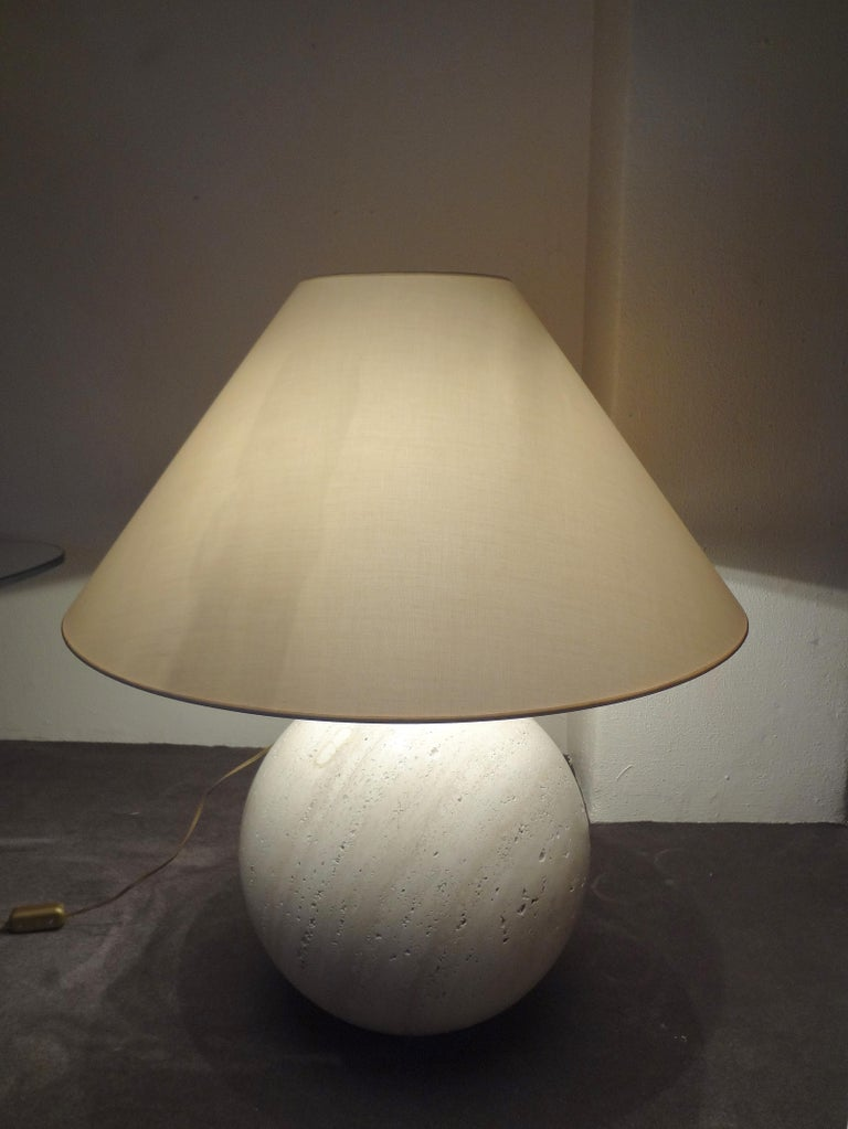 Italian Pair of Travertine Marble Bowl Table Lamps, Studio Angeletti, Italy, 1970s For Sale