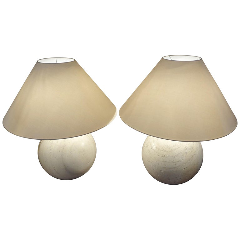 Pair of Travertine Marble Bowl Table Lamps, Studio Angeletti, Italy, 1970s For Sale