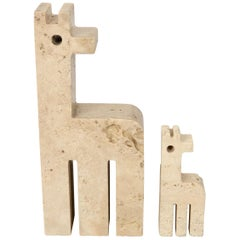 Pair of Travertine Marble Paperweight Giraffe by Fratelli Mannelli, Italy, 1970s