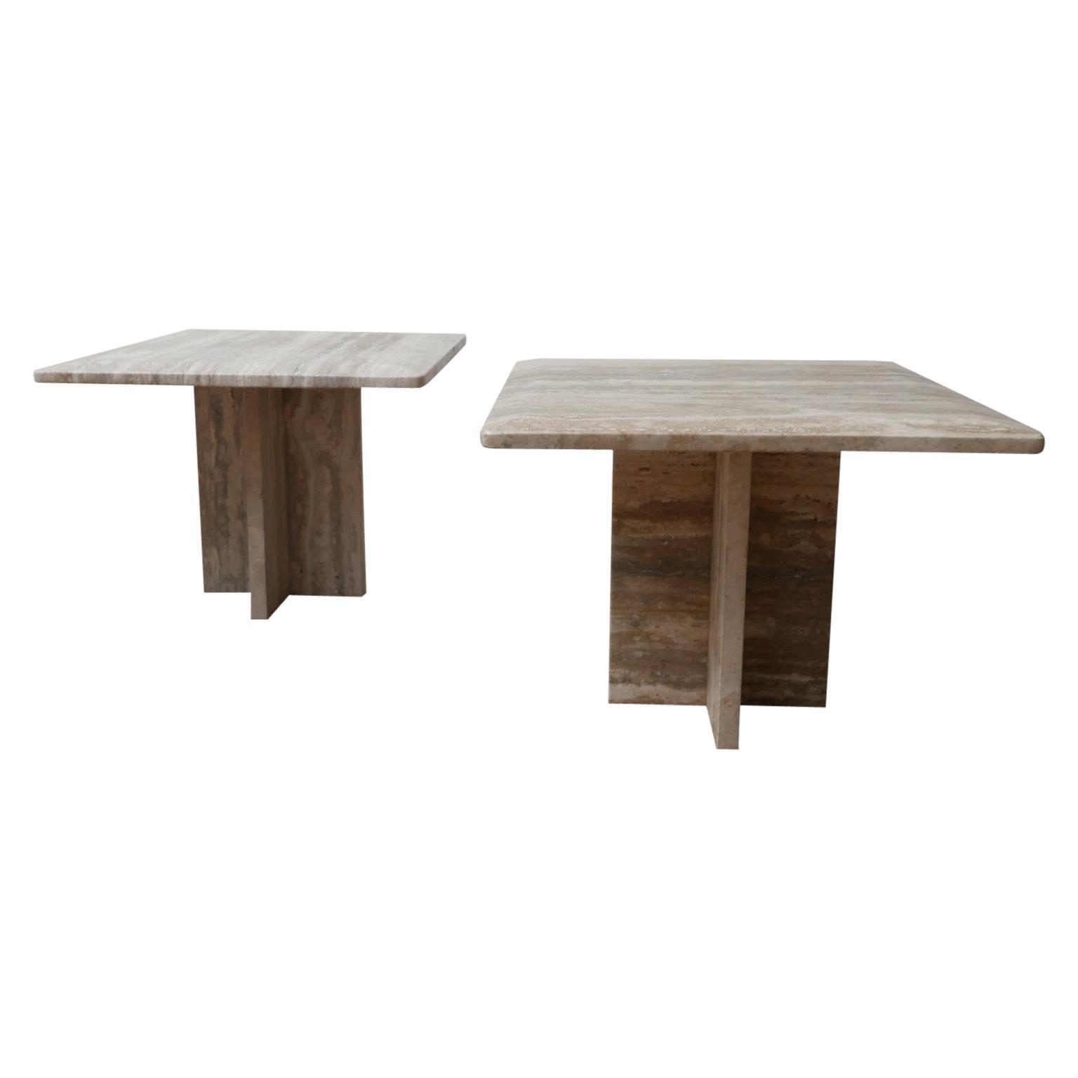 Pair of Travertine Midcentury Side Tables
