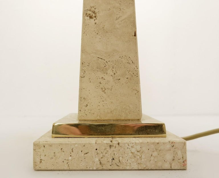 Pair of Mid-Century Modern Travertine Obelisk Table Lamps