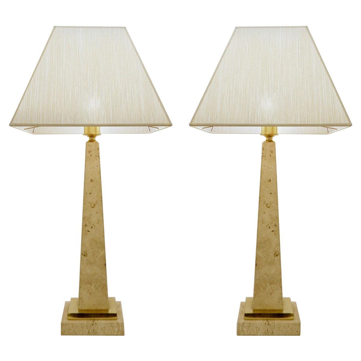 Pair of Travertine Obelisk Table Lamps