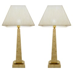 Pair of Mid-Century Modern Travertine Obelisk Table Lamps